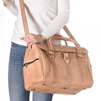 Saco de Viagem couro Natural com duas pegas de mão